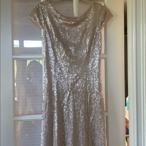 Rose Gold Cowl backed Sequined gown